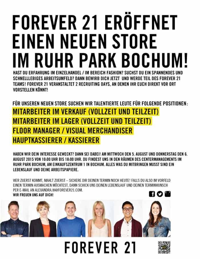 Forever 21 eröffnet einen neuen Store im Ruhr Park Bochum