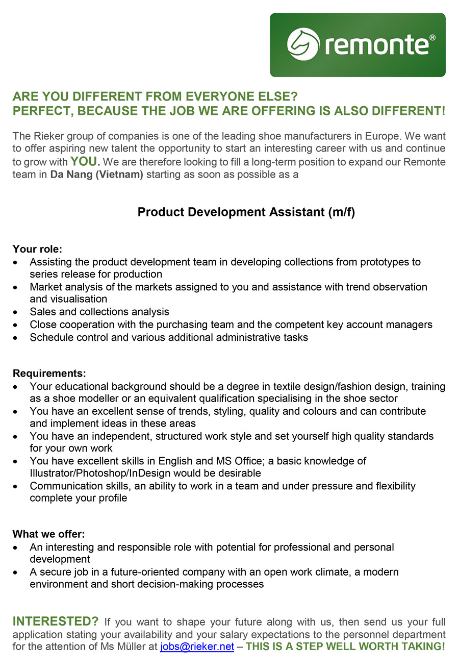 Product Development Assistant M F Da Nang Vietnam