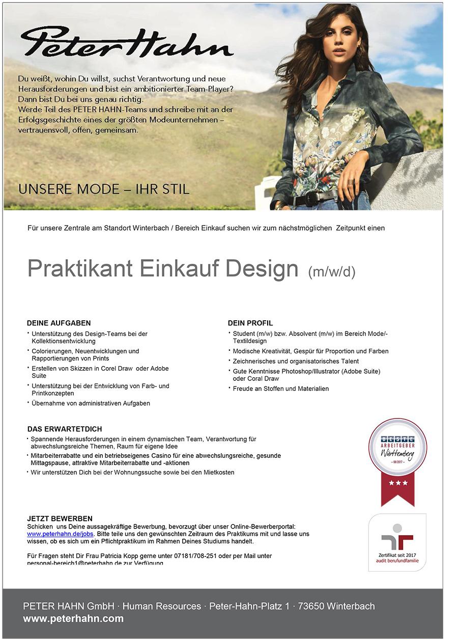 available reliable quality good texture Praktikant Einkauf Design (m/w/d) Winterbach