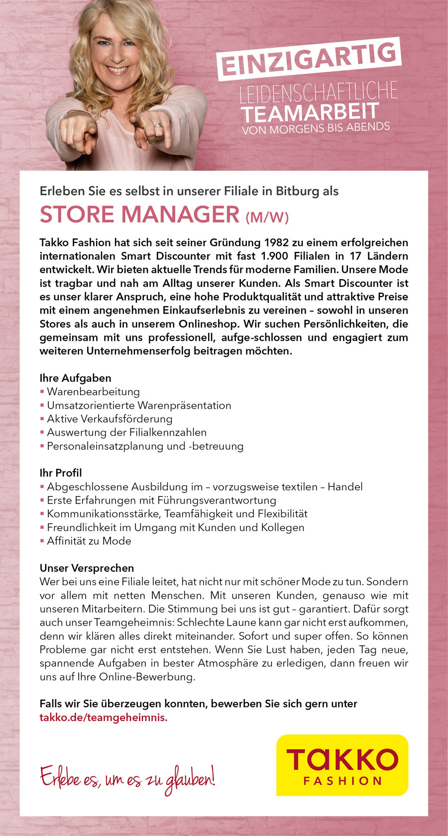 store manager mw bitburg - Takko Bewerbung