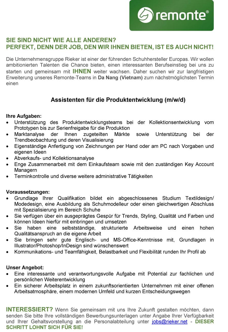 Assistenten für die Produktentwicklung (m/w/d)