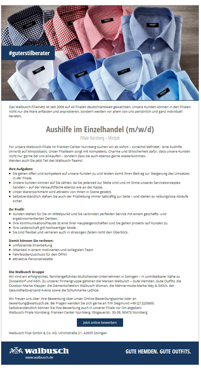new concept the latest new arrive Aushilfe im Einzelhandel (m/w/d) Minijob Nürnberg